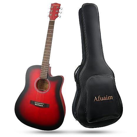Afuaim Guitarra Acústica Seccionada a Tamaño Completo, Paquete de Guitarra de acero de abeto de
