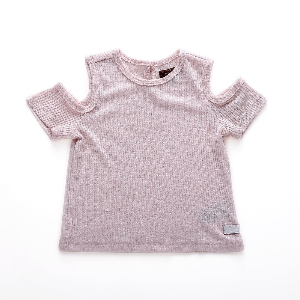 Snowdreams Girls O-Neck Cold Shoulder Tee Shirt Summer Solid Tops Color Pink Size 2T