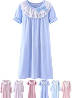 b829a169530 Abalacoco Girls Kids Princess Lace Nightgown Long Sleeve Cotton Sleepwear  Dress Pretty V-Neck Loose
