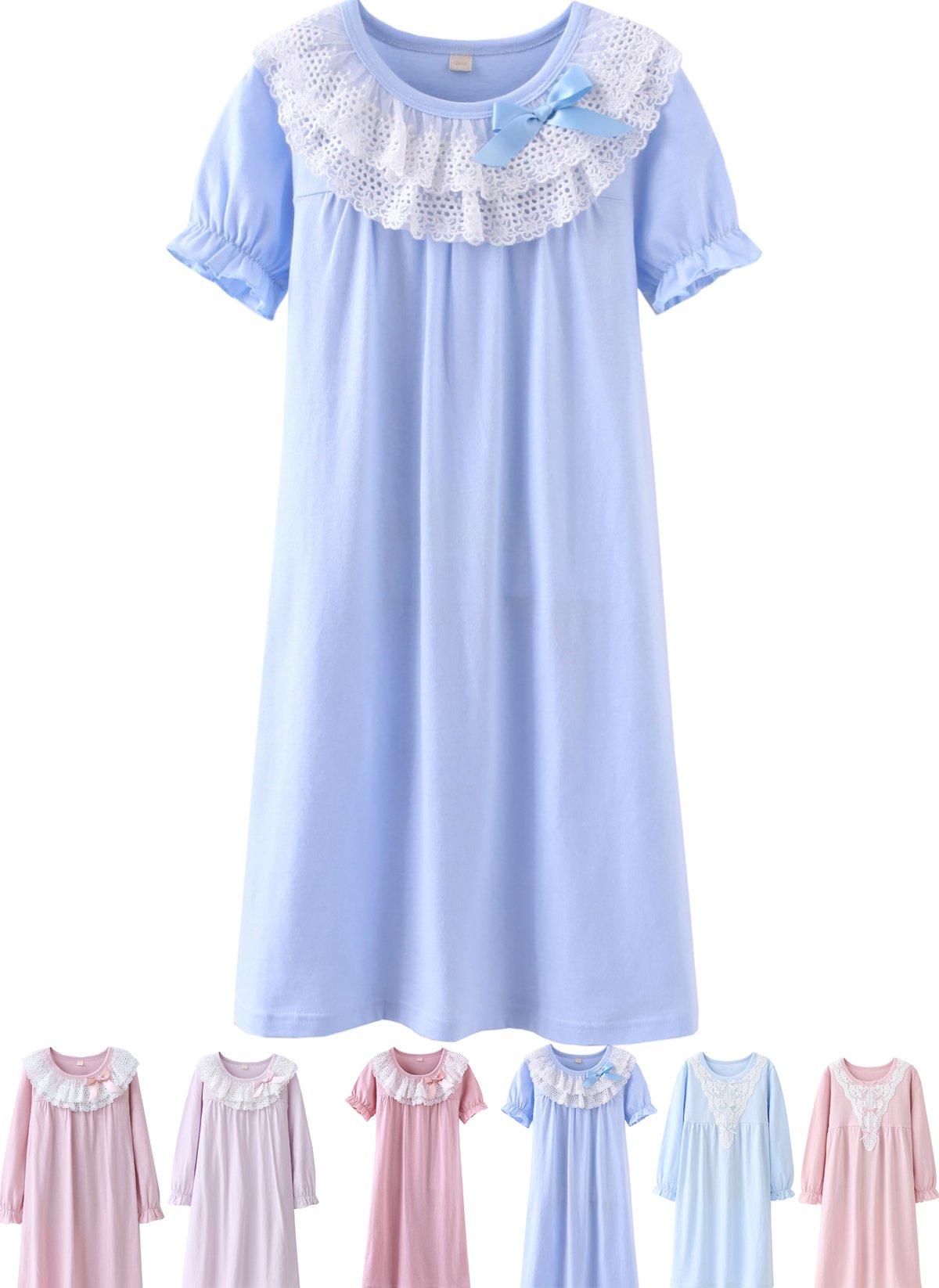 Abalaco Girls Kids Princess Lace Bowknot Nightgown Long Sleeve Cotton Sleepwear Dress Pretty Homewear Dress (16-17 Years, Blue/Short)