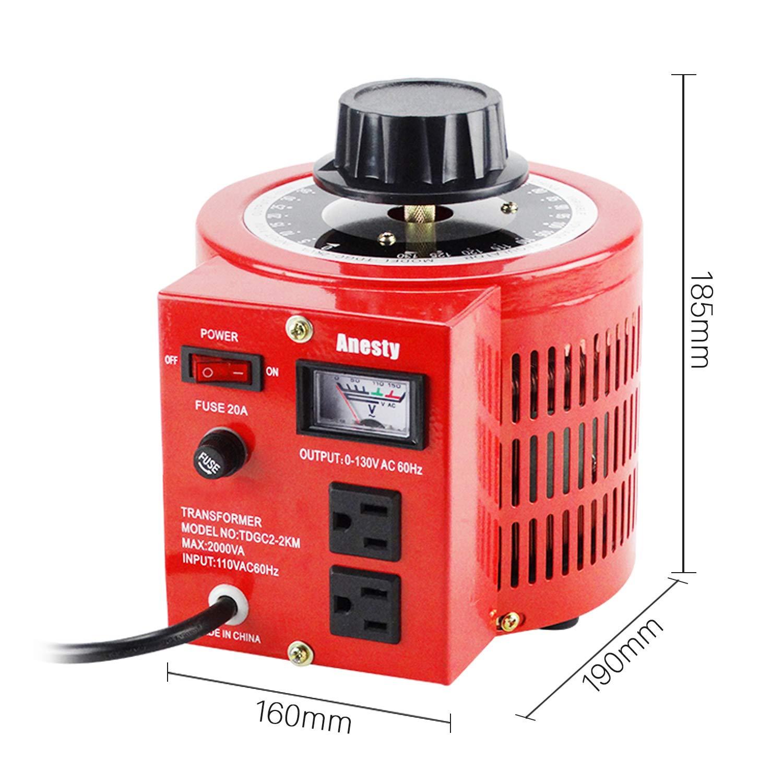 Anesty Auto Transformer AC Variable Voltage Converter Transformer Regulator 2KVA 0-130V (L) by Anesty (Image #7)