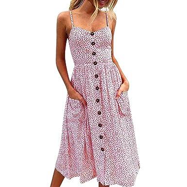 e62934dfb2b Qvwanle Women Sundress, Boho Floral Spaghetti Strap Button Pocket Summer  Beach Midi Dress (S