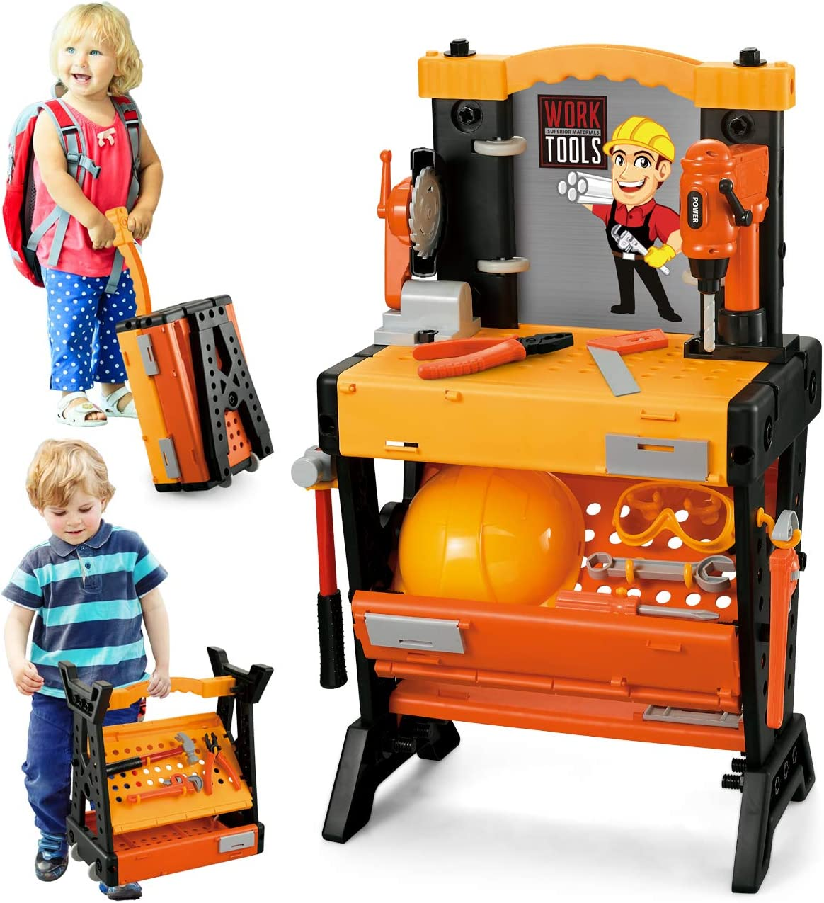 Exercise N Play 124PCS Workbench Kids Tool Sets Workshop Construction Box Kits,Realistic Children's Educational Play - Best Tool Kit Bench for Toddlers Kids Boys and Girls
