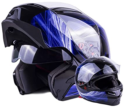 8c5069d6 Amazon.com: Typhoon Modular Motorcycle Helmet DOT Dual Visor Full Face Flip- up - Blue XXL: Automotive