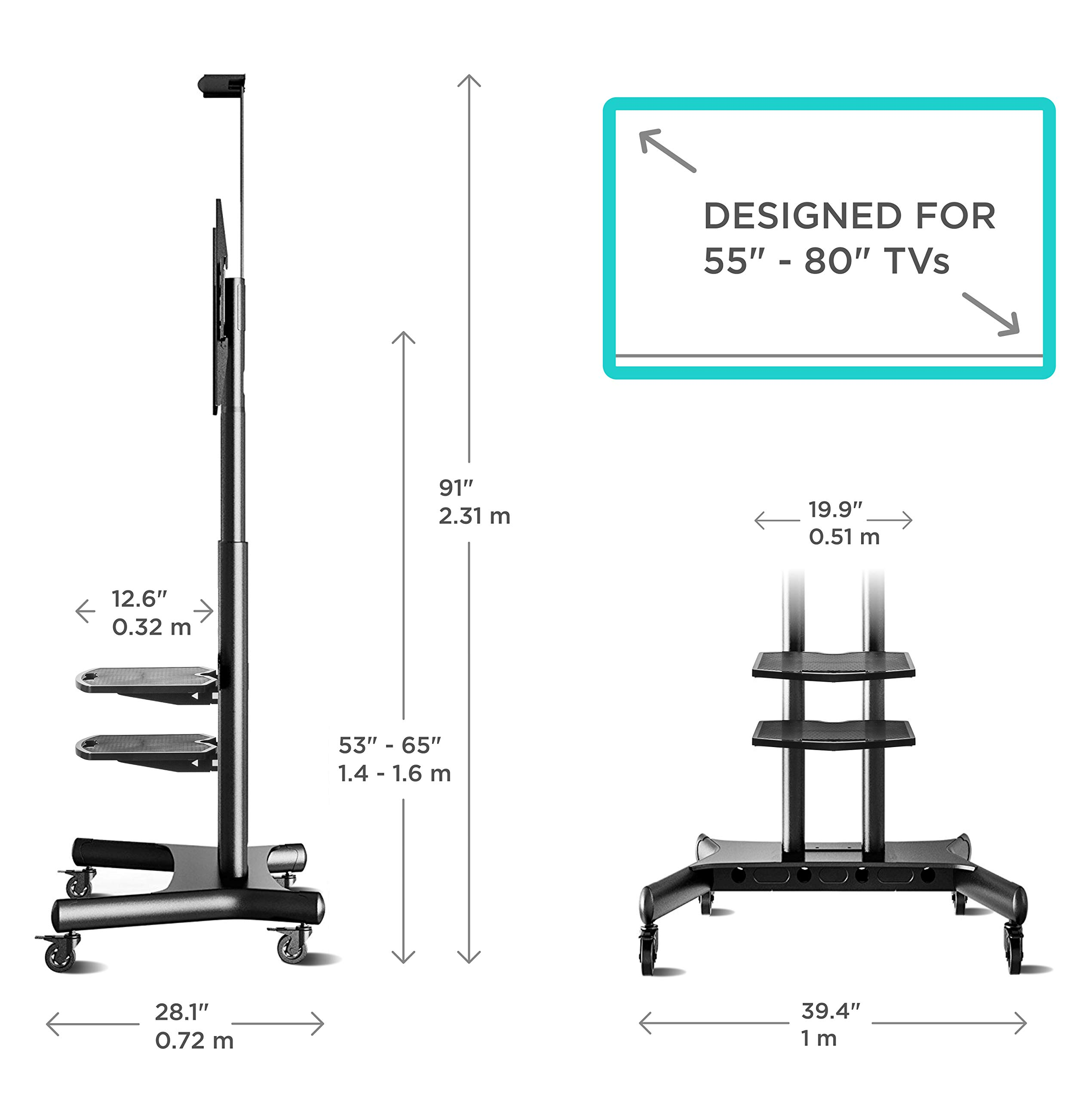 ONKRON Mobile TV Stand with Wheels Rolling TV Cart for 55 to 80 Inch LCD LED Flat Panel TVs (TS1881) by ONKRON (Image #3)