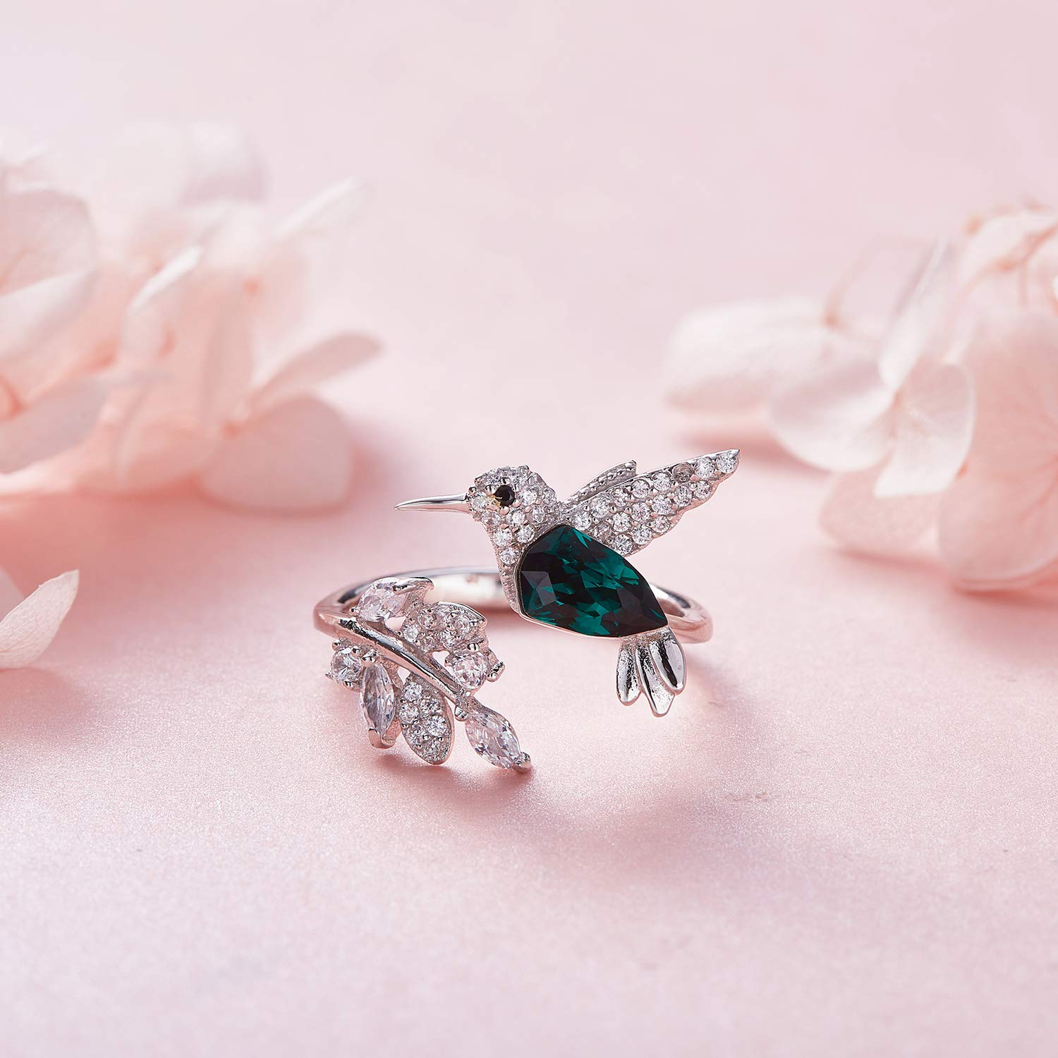 CDE Fine Ring Sterling Silver Hummingbird Open Rings Crystals from Swarovski Jewelry for Woemn