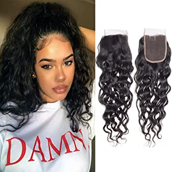 Water Wavy Closure 4x4 Brazilian Hair Free Part Closure Human Hair  Extensions Silky Pre Plucked Bleached 60480362f9