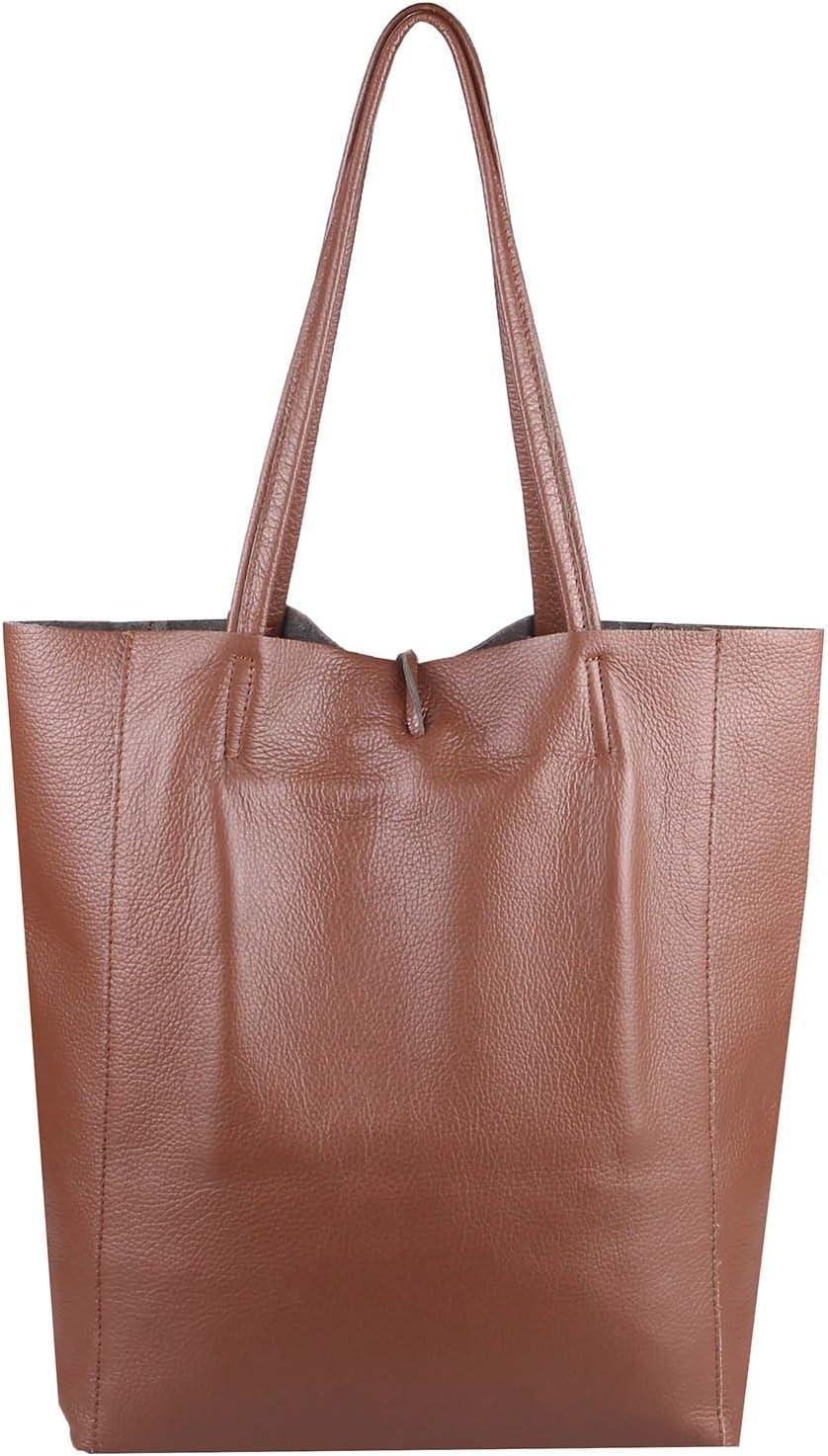 OBC Made in Italy Damen Tasche Echtes Leder Din-A4 Shopper Tote Bag Henkeltasche Handtasche Umhängetasche Schultertasche Flechtoptik Rot Braun 36x40x12 Cm