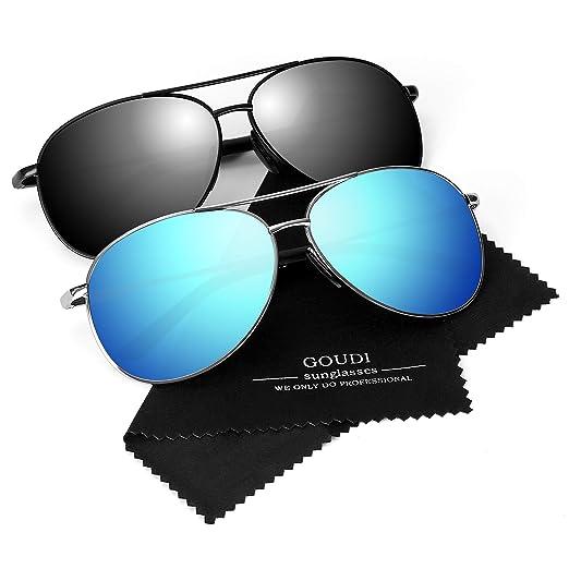57ede139904 Polarized Aviator Sunglasses for Men - goudi Metal Frame driving UV 400  Protection Mens Women Mirror Sunglasses 8002