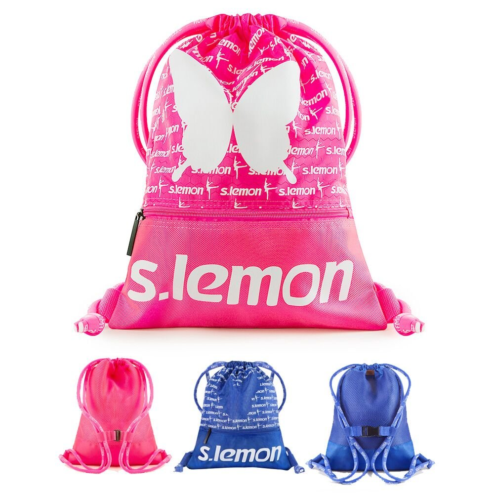 s.レモンダンスバッグ、バレエバッグ、巾着バックパック、機能ドローストリングバッグショルダーバッグジムバッグforガールズキッズ、ピンクとブルー色防水、軽量で、 B078SVRPCQ ピンク ピンク