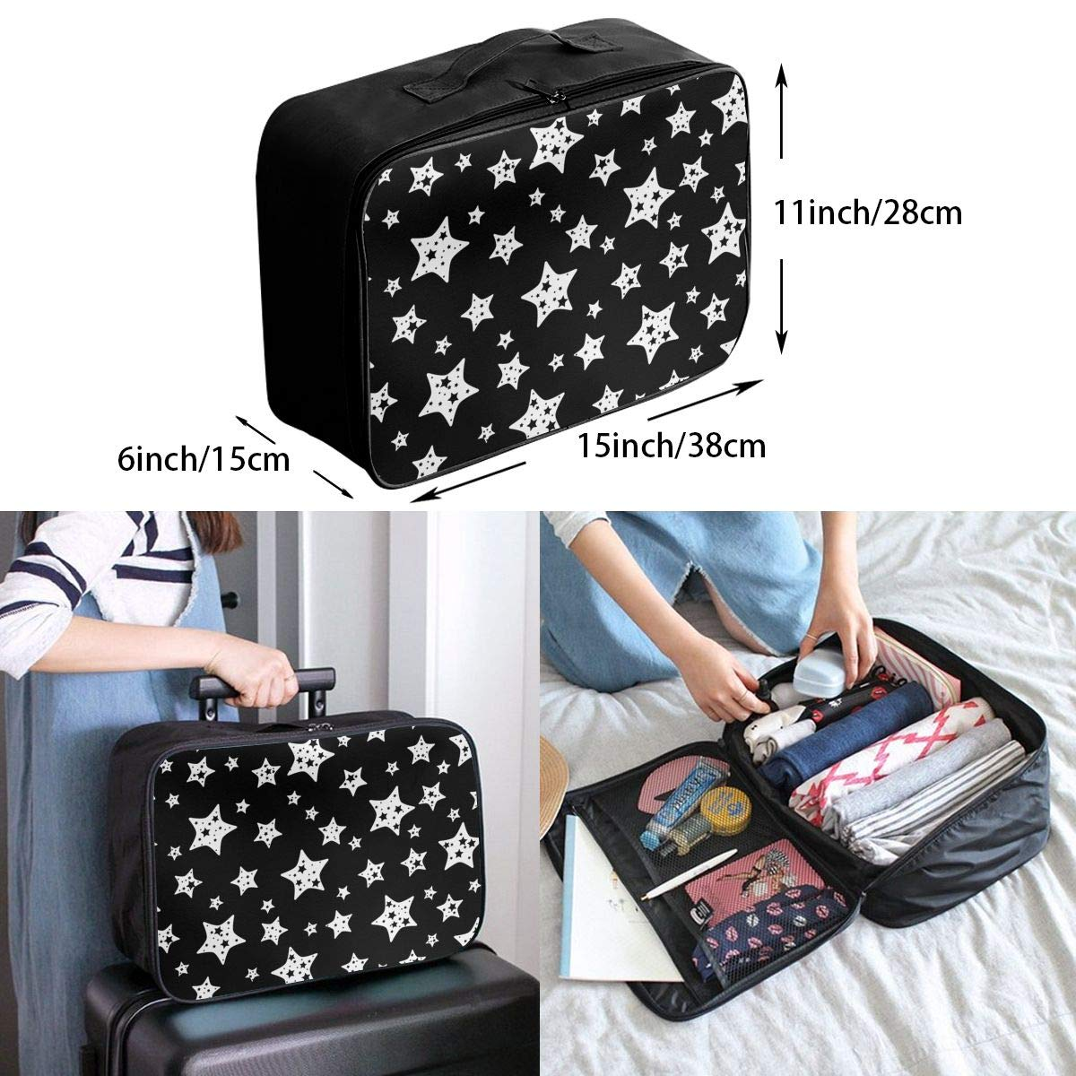 YueLJB Bright Stars Lightweight Large Capacity Portable Luggage Bag Travel Duffel Bag Storage Carry Luggage Duffle Tote Bag
