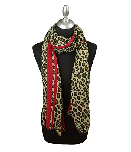 8d748ec1c267c Camel and Red leopard print scarf: Amazon.co.uk: Shoes & Bags