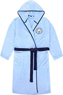 Manchester City FC Official Gift Mens Hooded Fleece Dressing Gown Robe