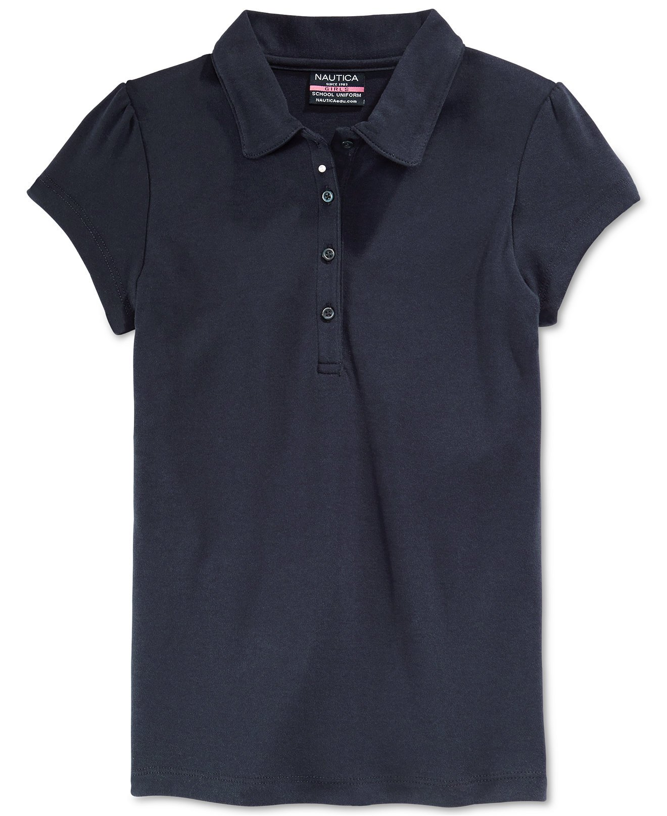 Nautica Girls' School Uniform Short-Sleeve Polo Shirt (X-Large (16) Regular, Navy)