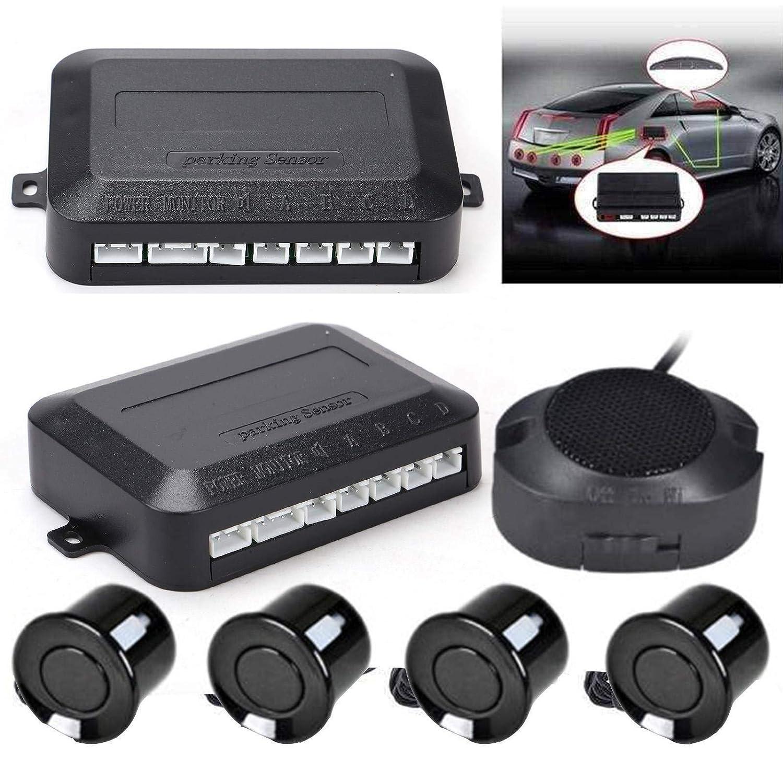 MorNon Sistema de Sensor de Estacionamiento de Coche Radar Aparcamiento Sensor Sistema de Veh/ículo con 4 Estacionamiento Sensores y Sonido Advertencia,Negro