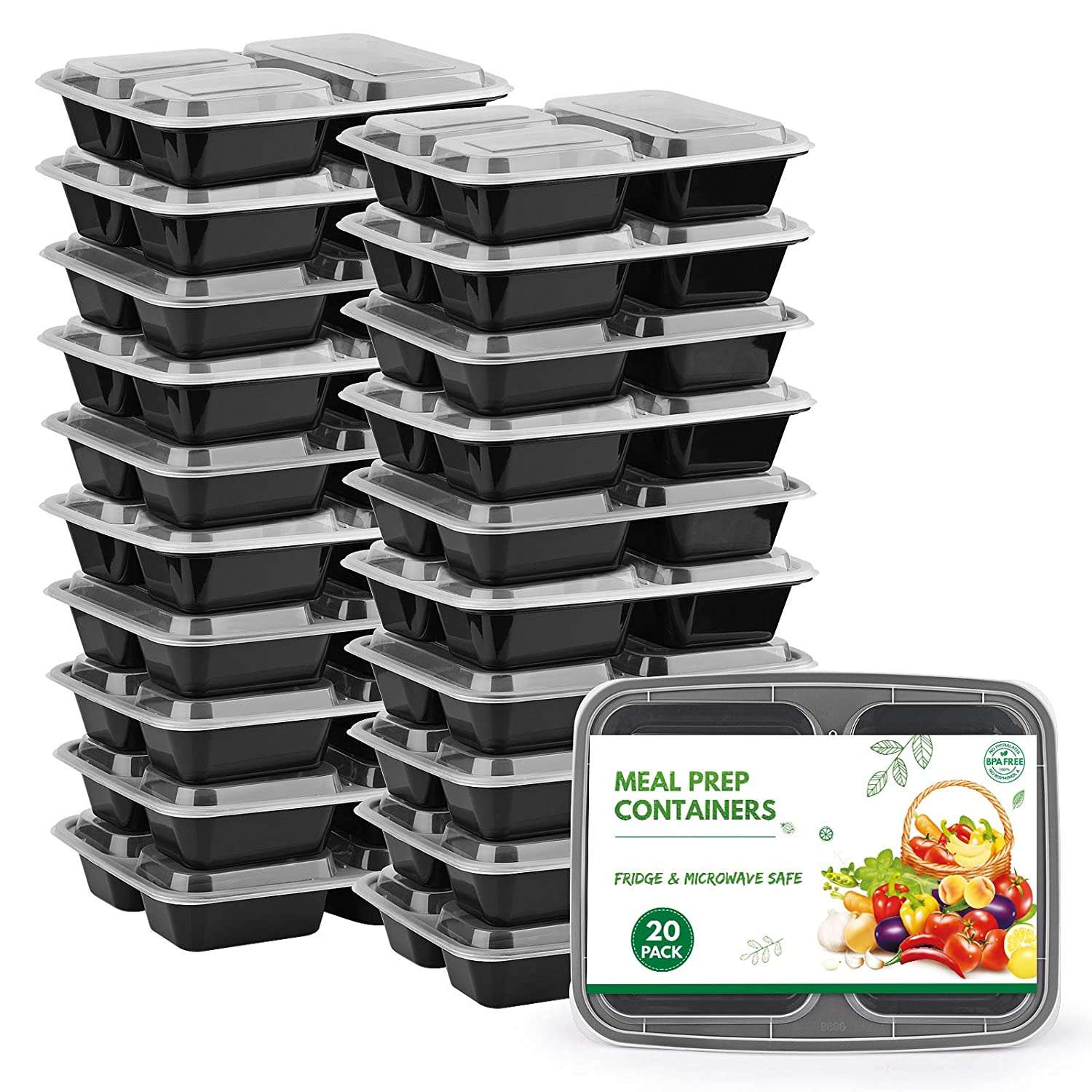 [20 Pack]Meal Prep Containers Set, 3 Compartment Food Containers,Reusable Travel & to-Go Food Storage Container Boxes, Microwavable, Fridge & Dishwasher Safe, BPA-Free (3 Compartments, 980mL)