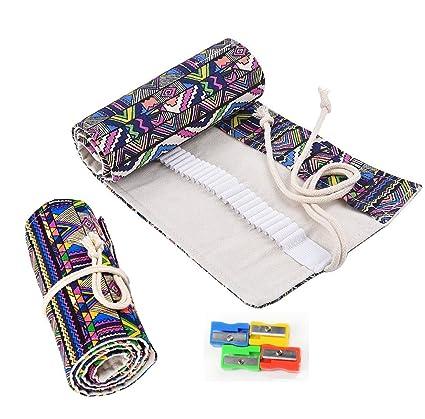 RayLineDo – Estuche enrollable de lona para lápices de colores con 36 espacios, 48 Holes