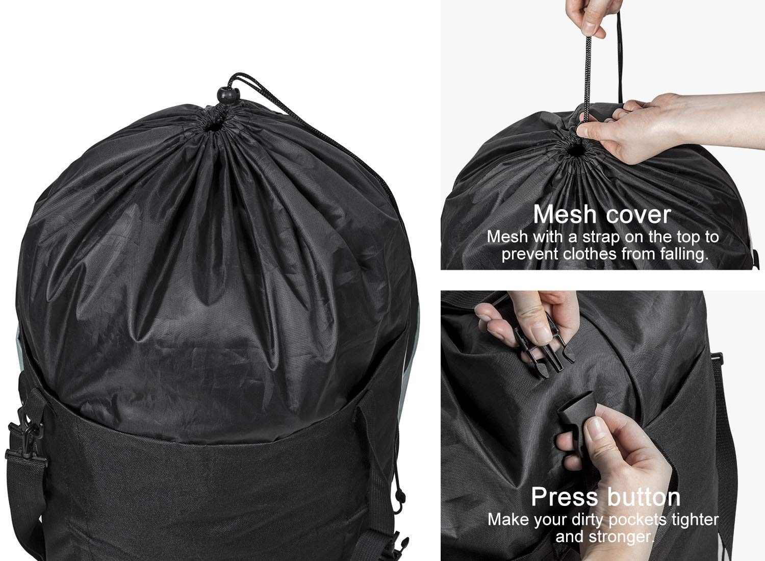 WISHPOOL 106L Collapsible Laundry Bag Backpack Laundry Liner Extra Large Laundry Basket Foldable Laundry Hamper Dirty Clothes Hamper for Laundry (Black)