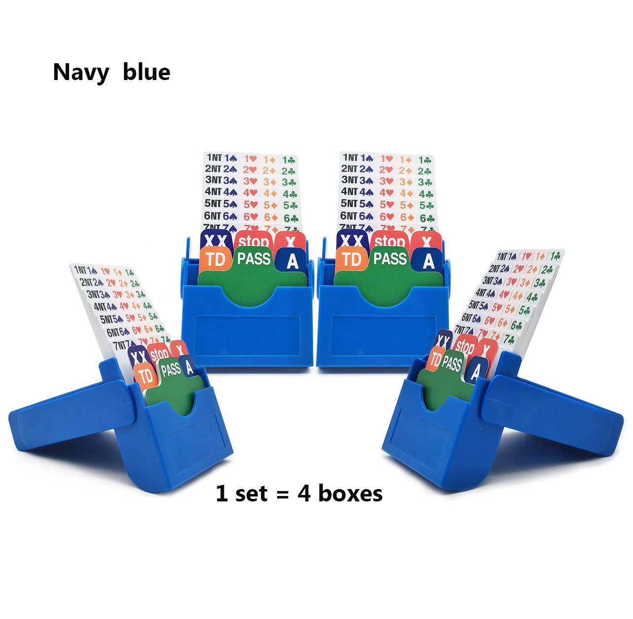 Bling Bling Folding Bridge Boxes with Plastic Cards Bidding Device Set of 4
