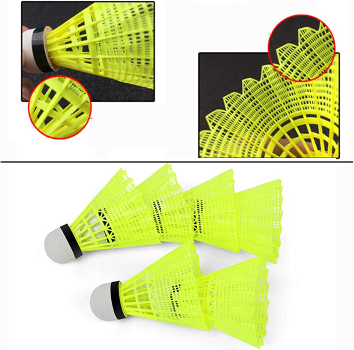 N/Y 12-Pack Nylon Feather Shuttlecocks, High Speed Badminton Birdies Balls with Great Stability and Durability for Indoor Outdoor Sports Training Sports Shuttlecock Birdies (Yellow) : Sports & Outdoors
