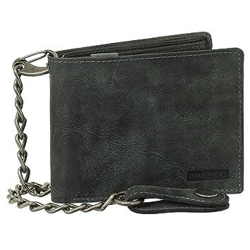 Billetera de piel de lujo de motorista con cadena, monedero ...