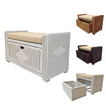 Rattan Chest Storage Ottoman Model Eva With Drawer And Cushion (White)
