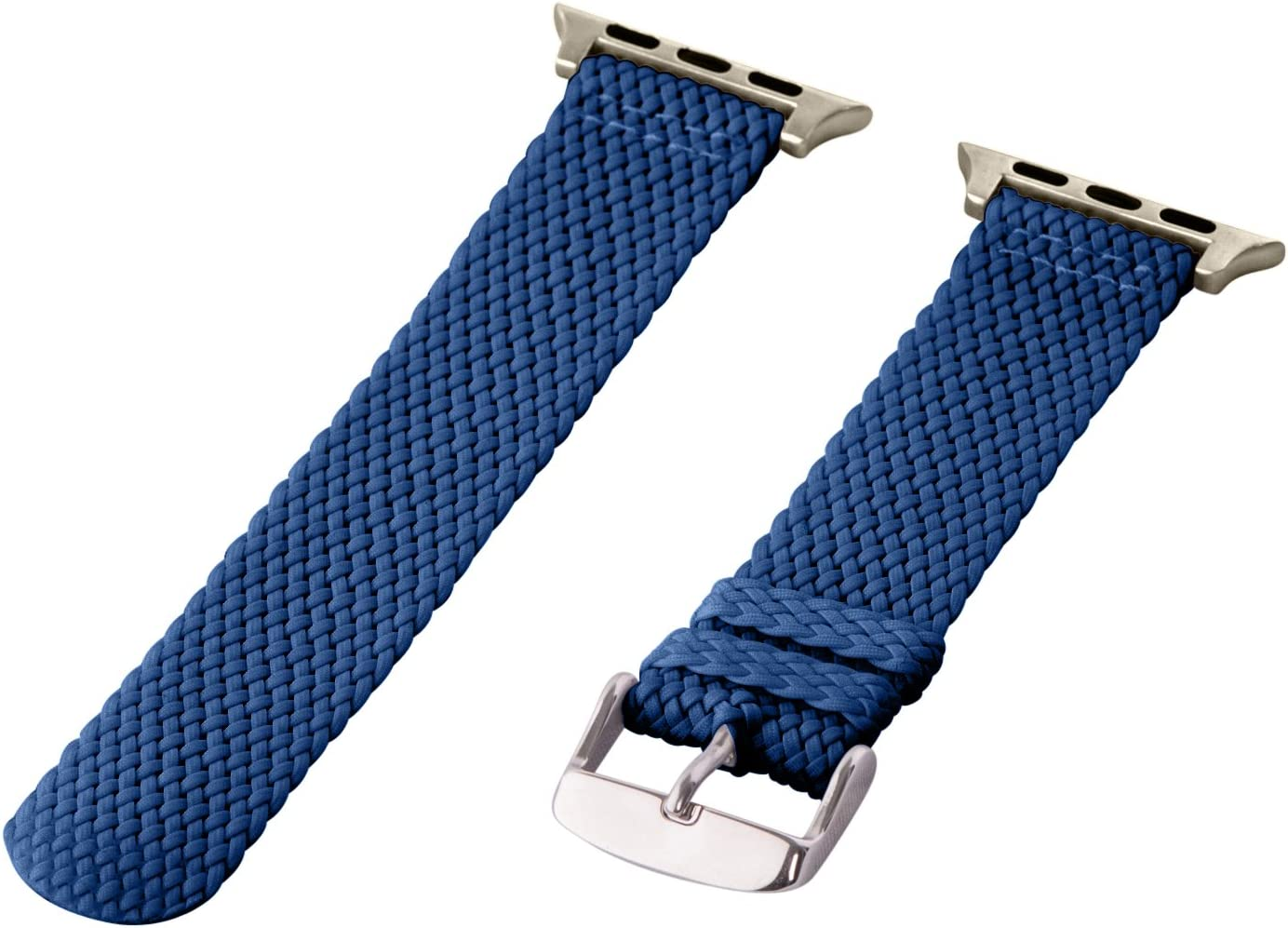 Clockwork Synergy - 2 Piece Perlon Braided Nylon Bands for Apple Watch (38mm Navy)