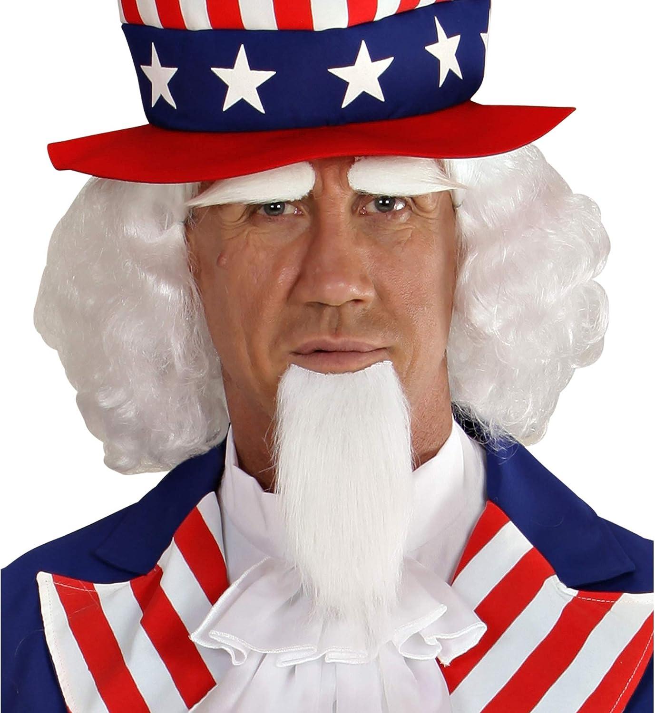 WIDMANN 06750peluca puntiagudo, barba y cejas, Tío Sam, color blanco