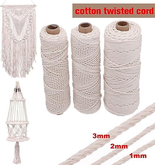 Cuerda trenzada de algodón trenzado suave beige de 1/2/3 mm de ...