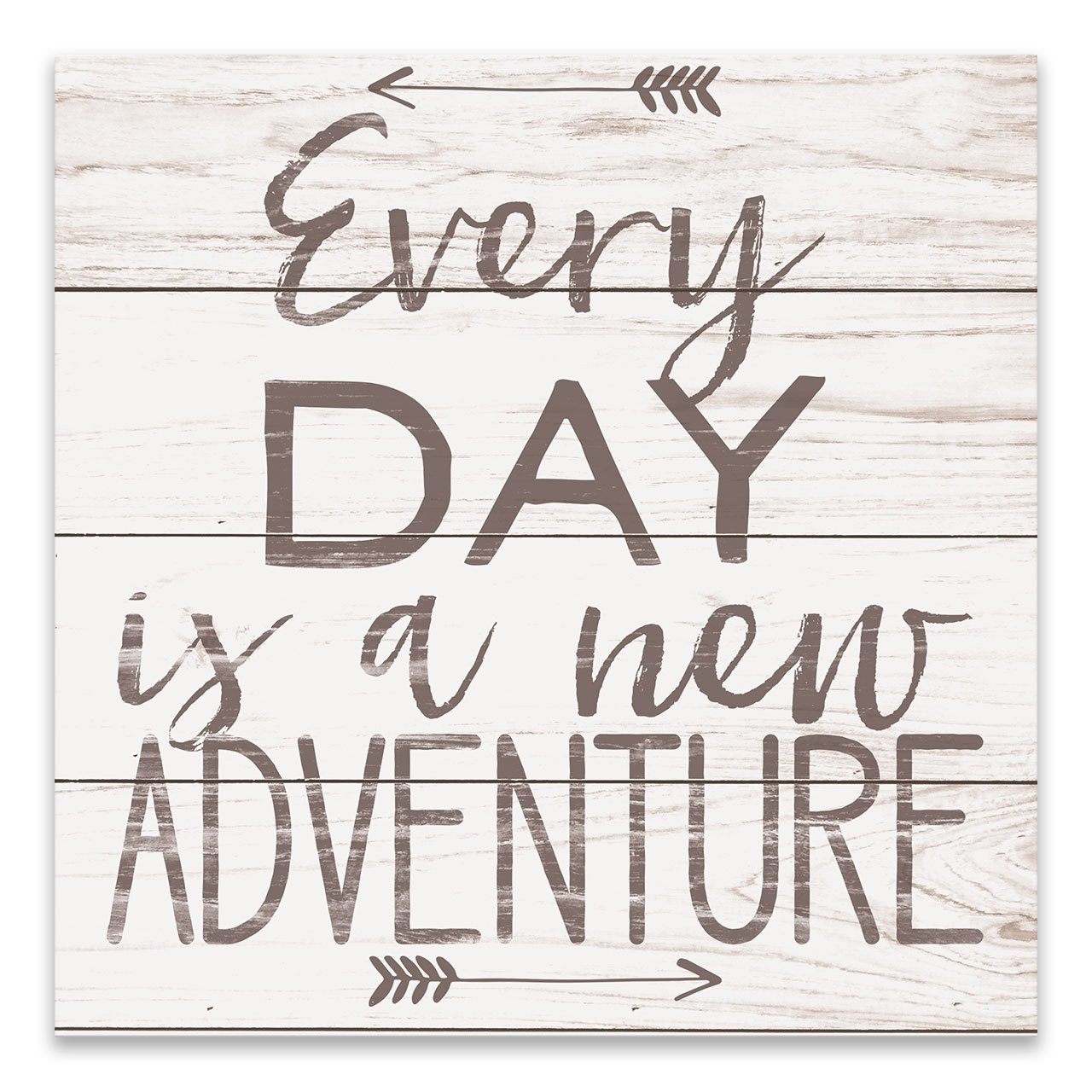 Artissimo Designs Every Day is a New Adventure Rustic Wood Style Typography Printed Canvas 18W x 18H x 1.5D