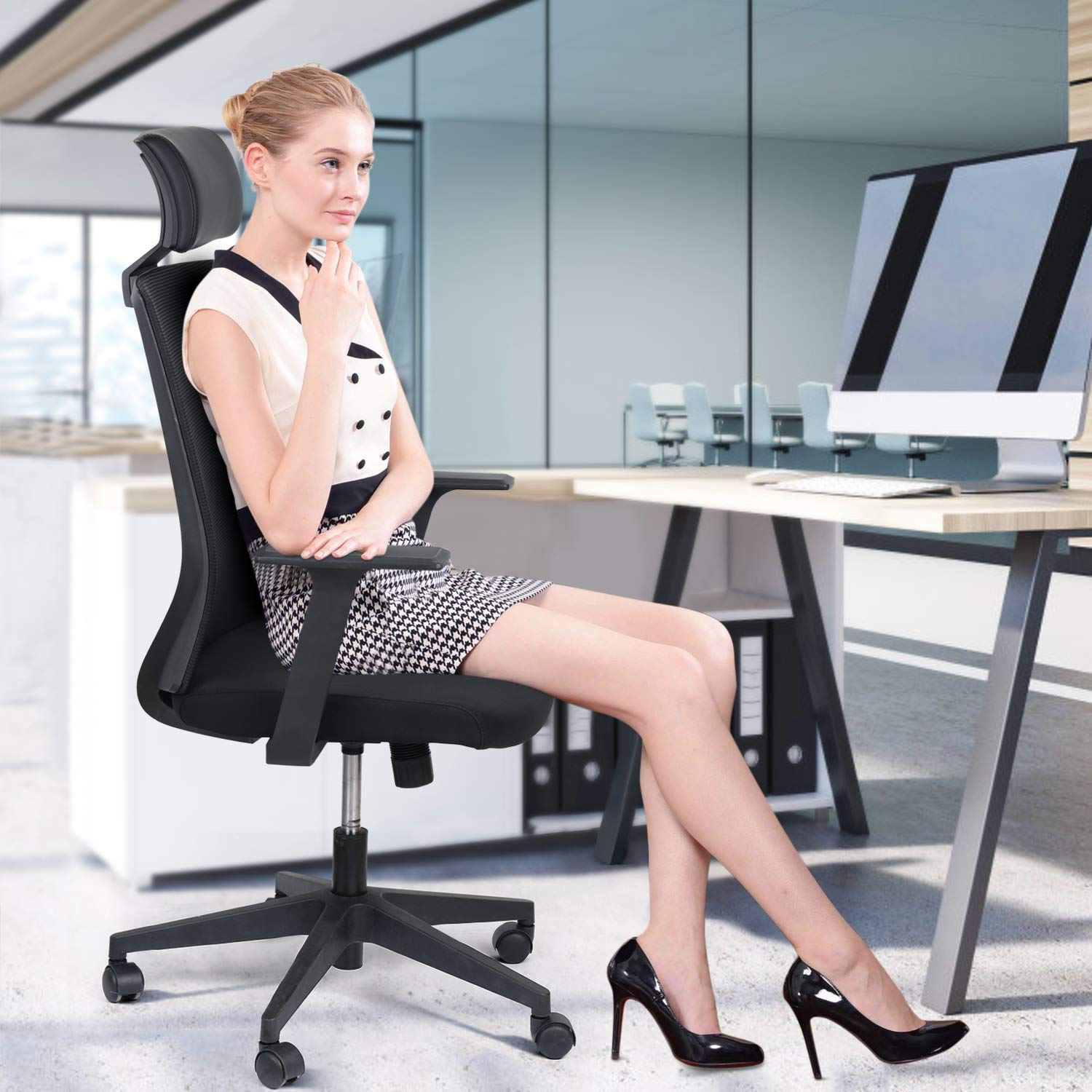 Office Desk Chair – TUSY Mesh Office Chair, Ergonomic Swivel Gaming Chair, Adjustable Executive Task Computer Stool with Arm Racing Chair