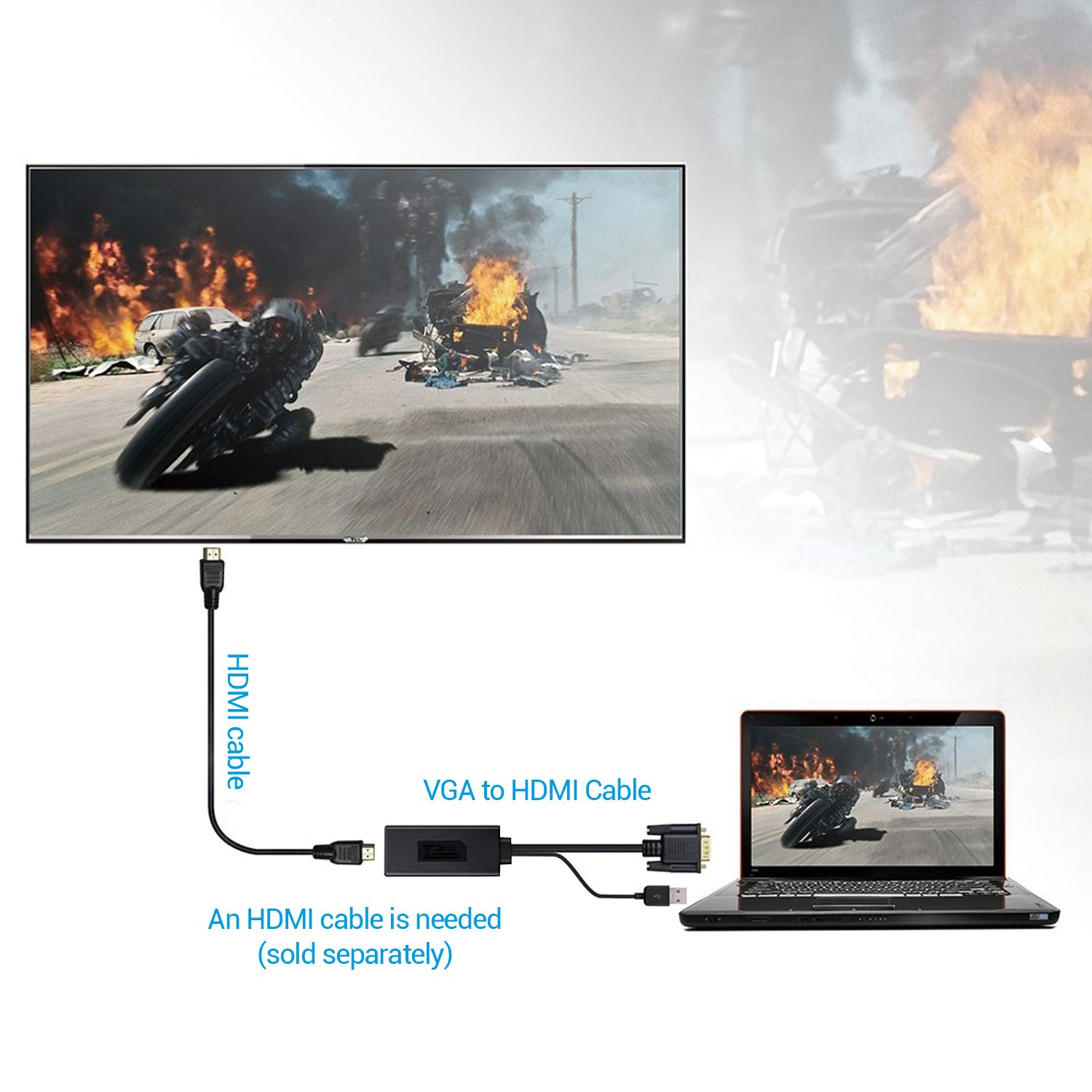 Vga To Hdmi Adapter Converter Cable 1080p With Usb Kabel Male 15 Meter Sj0039 Electronics