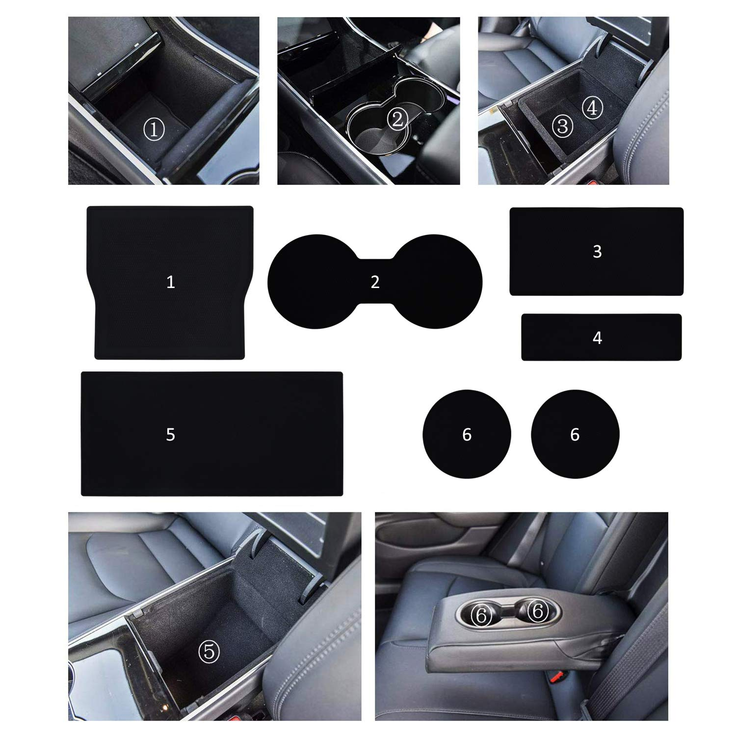 BMZX Model 3 Cup Holder Liner Custom Fit Cup and Center Console Liner Acessories for Model 3 2017 2018 2019 7-pc Set