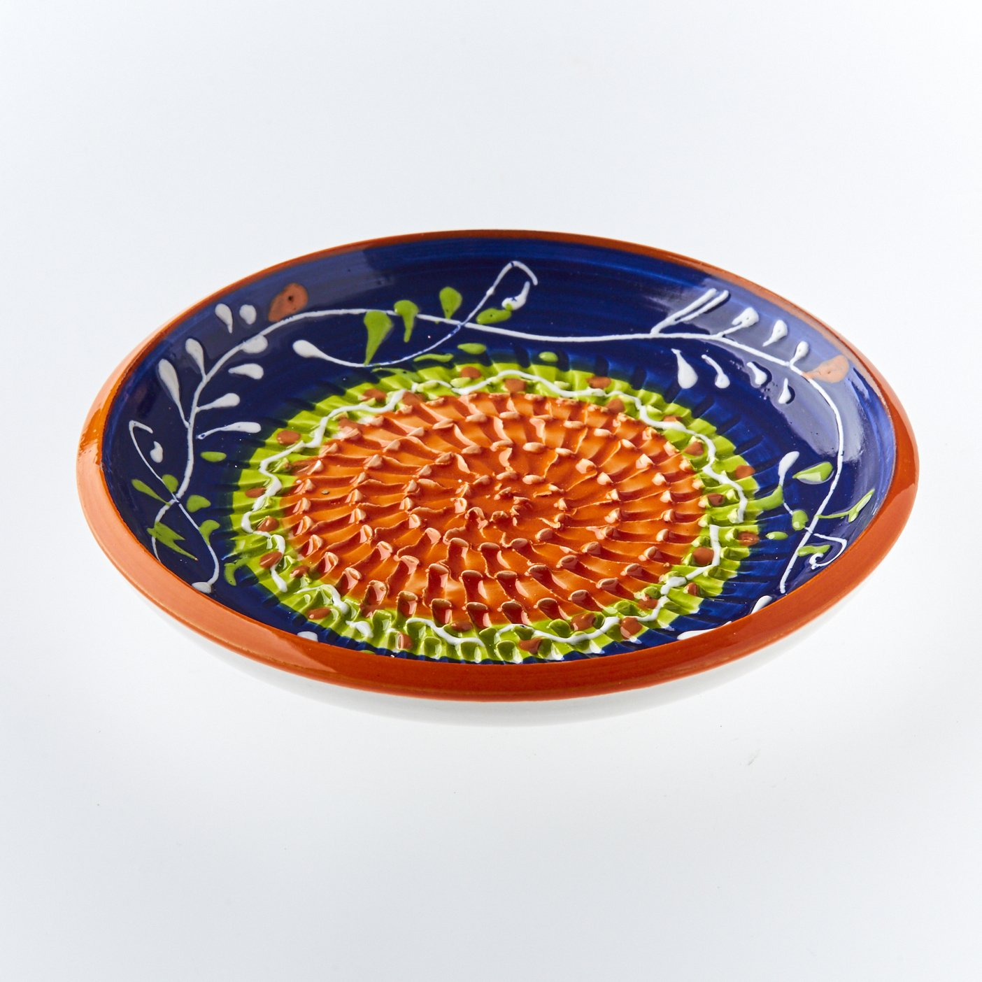 Garlic Grater Plate by The Great Garlic Grater. Handmade and Hand painted in Cordoba, Spain. Dispatched from the UK. Blue with green and orange circle. Wild flowers. No. 4 RUPI