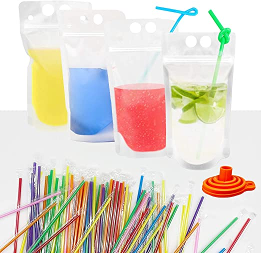IMISUTD 100 Pcs Drink Pouches with Straws, 500ML Juice Pouches bags with 100 Drink Straws, Double Zipper Stand-Up Smoothie Bags for Cold & Hot Drinks with Silicone Funnel