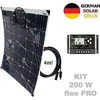 VIASOLAR Kit 200W Flex Pro 12V Panel Solar Semi-Flexible células alemanas