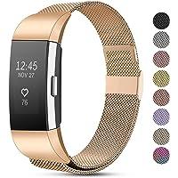 Funbiz Compatibel met Fitbit Charge 2 Bandje, Roestvrijstalen Metalen Gaasband Vervangende Draagriem voor Fitbit Charge 2, Heren Dames Klein Groot
