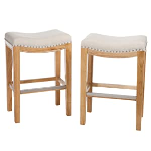 Christopher Knight Home 237492 Jaeden Beige Backless Counter Stool (Set of 2), BrownWhite