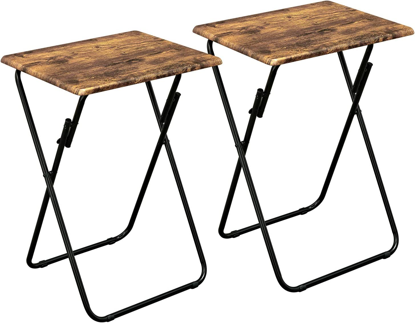 Aingoo No Assembly TV Trays Set of 2 Small Snack Tables for Eating Pinic Multi-Function Dinner Desk with Wood Top and Metal Frame Vintage