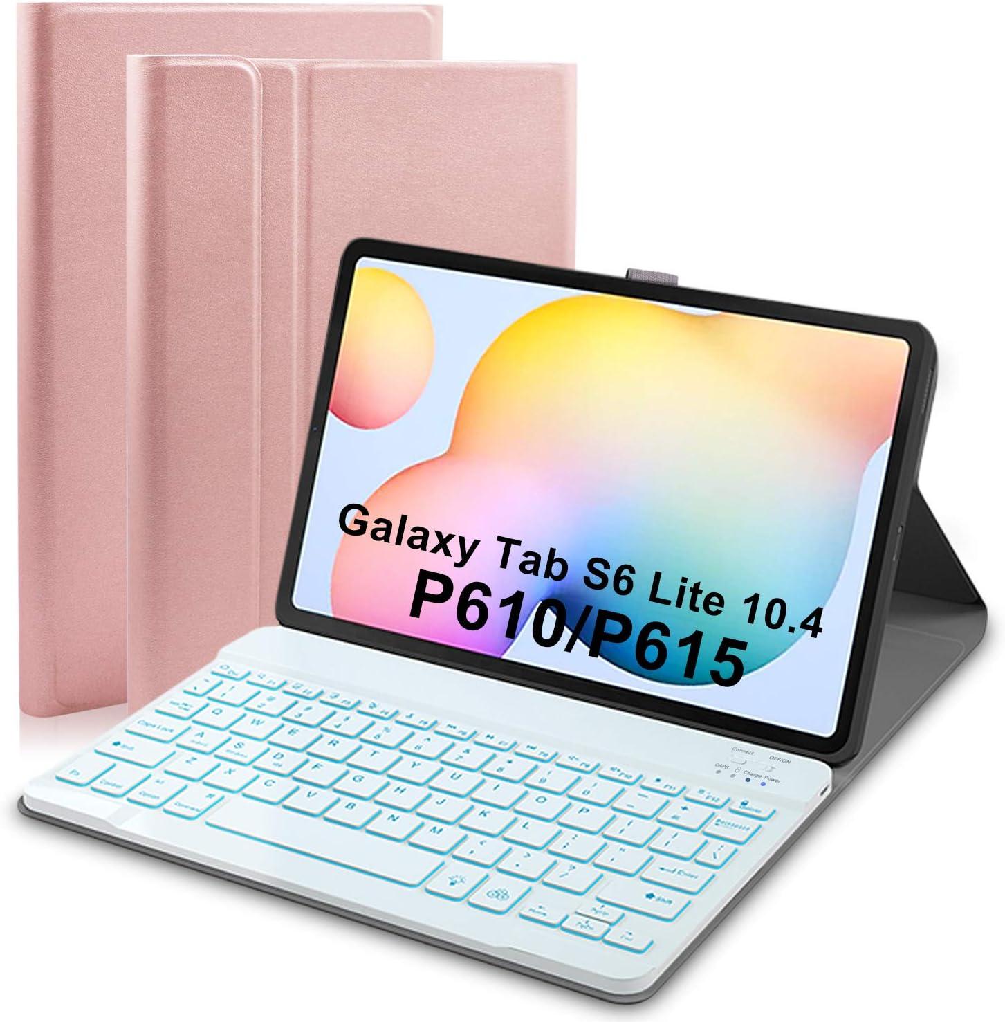Upworld Funda con teclado retroiluminado para Samsung Galaxy Tab S6 Lite de 10,4 Tablet 2020 (SMP610/P615) 7 colores luz desmontable teclado ...