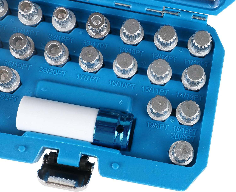 Set di rimozione di dadi per bulloni e dadi antifurto Lugnut chiavi per la rimozione di viti con adattatore a bussola compatibile per la rimozione dei dadi della ruota VW AUDI MRCARTOOL 23 pezzi