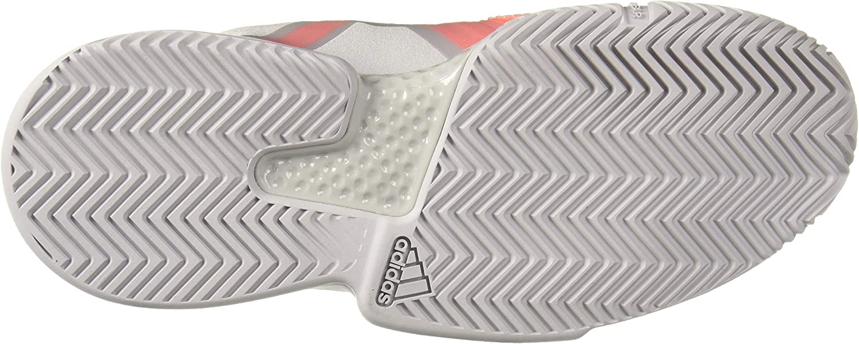 adidas Women's Solematch Bounce Tennis Shoe Light Grey Heather/Light Grey Heather/Hi-res Coral