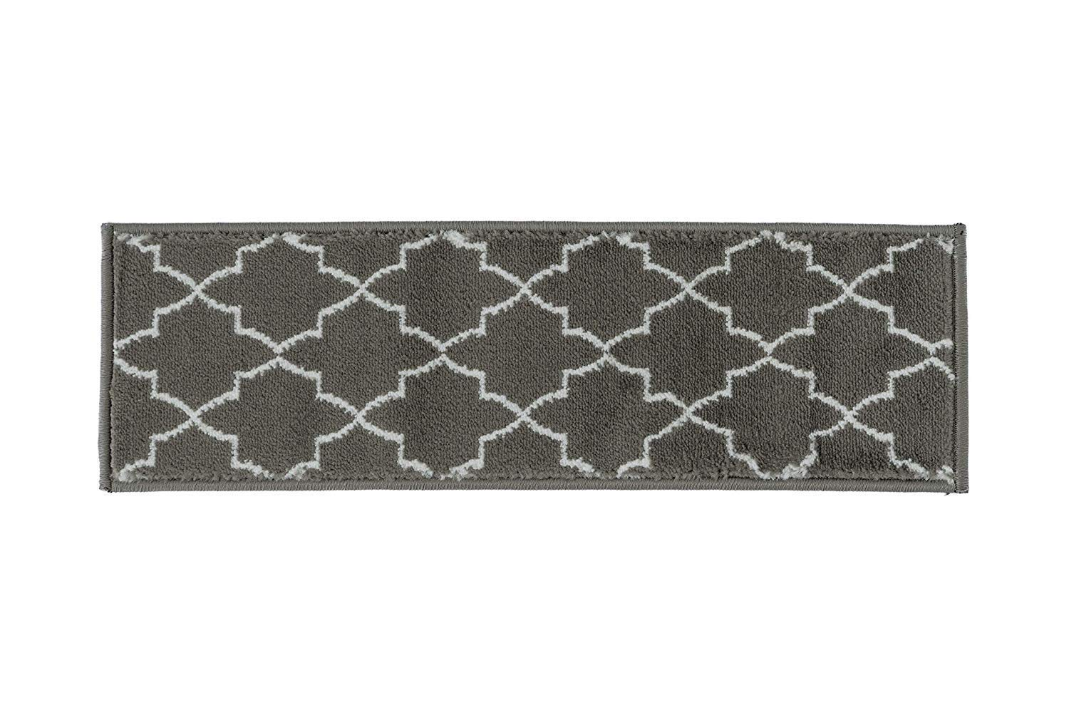 ,Modern,Soft Stair Tread Double Sided Tape Included 8.5 inch by 28 inch Grey Trellis Design Indoor 13 Set of 13 Spica Home Stair Treads
