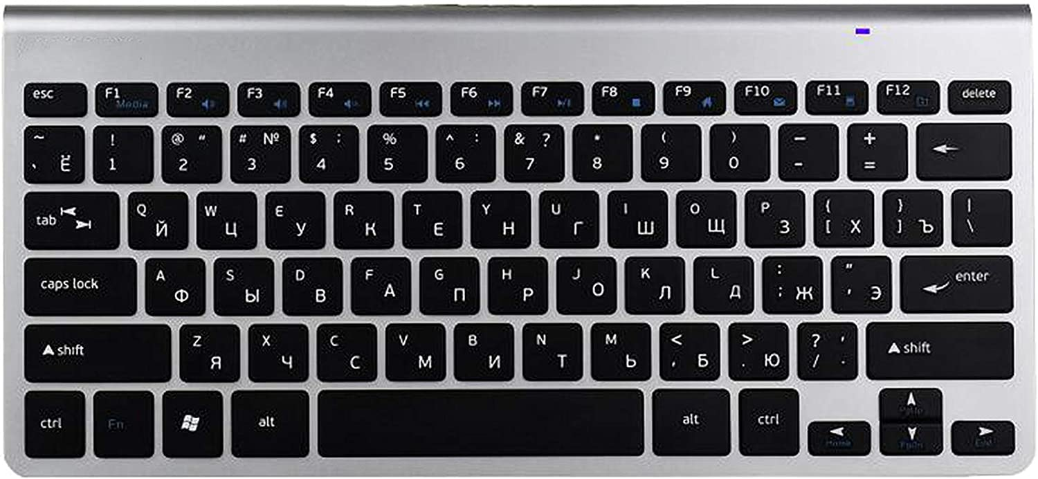 Meidly Russian English Letter Slim 2.4G Wireless Keyboard for MacBook Laptop TV Box Computer PC with USB Receiver,Russia Silver White