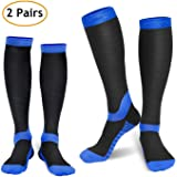 Deilin Compression Socks for Women & Men (2 Pairs), Graduated Compression Sock 20-30 mmHg for Running, Athletic Sports, Flight Travel, Nurses, Maternity Pregnancy, Shin Splints, Edema, Varicose Veins