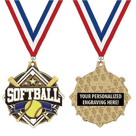 Amazon com : Crown Awards Custom Softball Medals, 2 1/4
