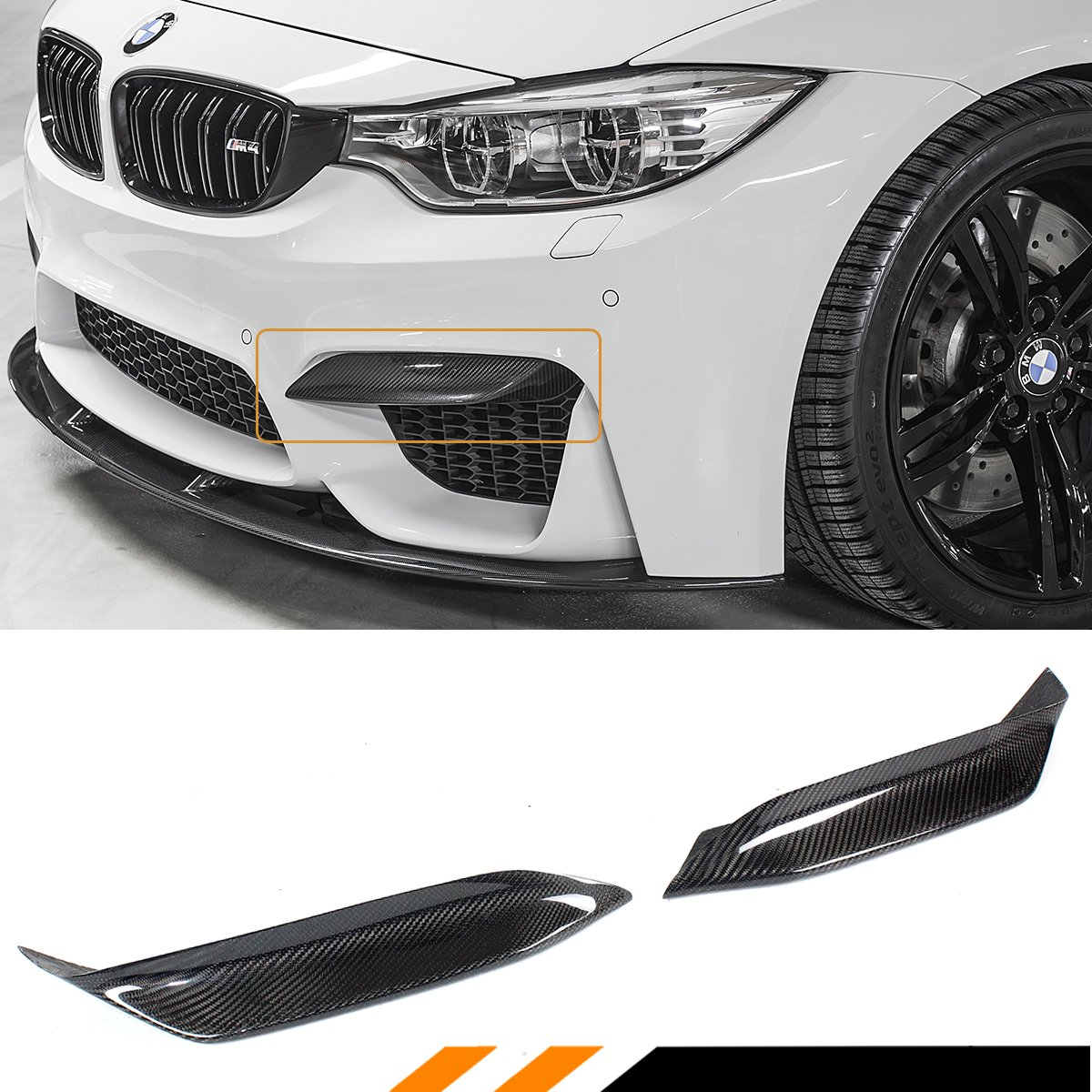 FOR 2015-2018 BMW F80 M3 F82 F83 M4 CARBON FIBER FRONT BUMPER AIR VENT EYELID COVER LIPS-PAIR Cuztom Tuning