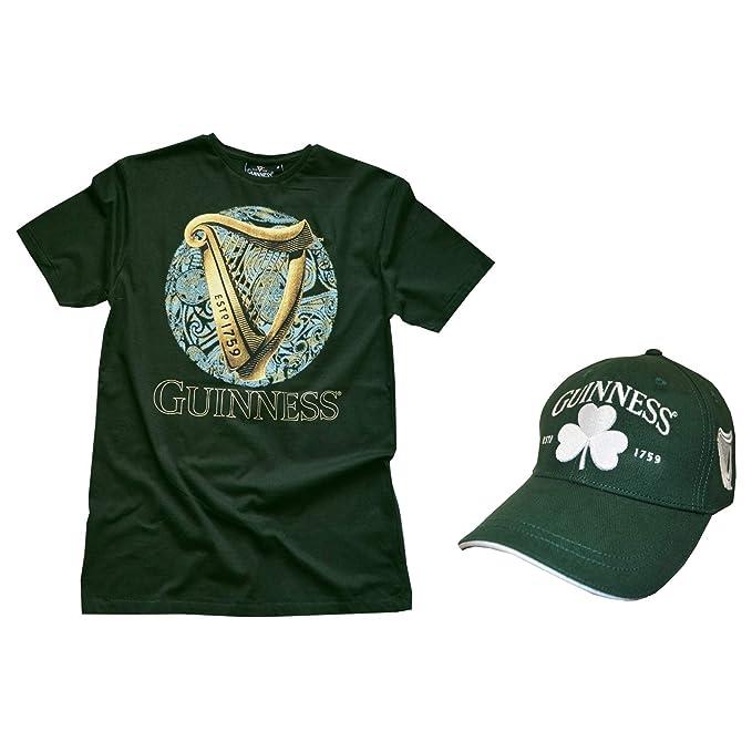 Amazon.com: Guinness – camiseta de círculo celta verde arpa ...