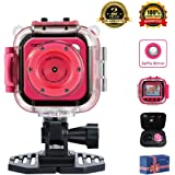 "TOPELOTEK Kids Digital Action Camera Waterproof Mini Camera 1.77""LCD Screen DV Creative Toy For Children's Day Birthday Gift (Rose Red)"