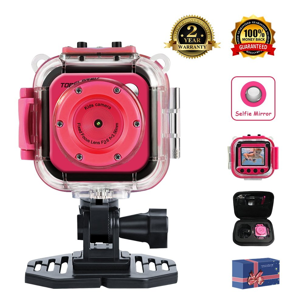 "TOPELOTEK Kids Digital Action Camera Waterproof Mini Camera 1.77""LCD Screen DV Creative Toy for Children's Day Birthday Gift (Rose Red) TOP TEK Electronics"